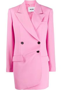 Msgm Longline Double Breasted Blazer - Rosa