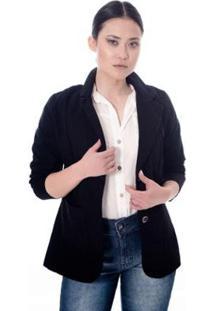 Blazer Sisal Jeans Sarja Feminino - Feminino-Preto
