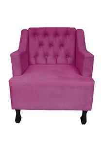 Poltronas Decorativa Pés Luis Xv Gênises Encosto Estilo Capitonê Suede Pink - Ds Estofados