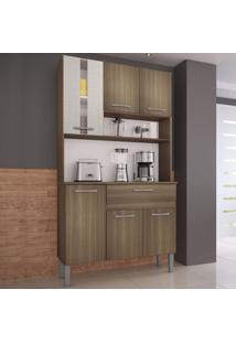 Cozinha Compacta 6 Portas 90 Cm 0282 Melissa Castanho/Mel 3D - Genialflex