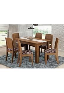 Mesa Para Sala De Jantar Com 6 Cadeiras Bárbara Savana/Floral Bordô - Cimol Móveis