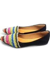 Sapatilha Love Shoes Bico Fino Crochet Colorido Com Preto