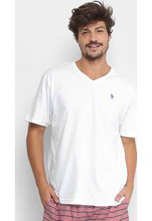 Camiseta U.S. Polo Assn Gola V Masculina - Masculino-Branco