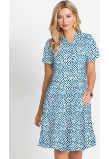 Vestido Com Abotoamento Estampado Azul