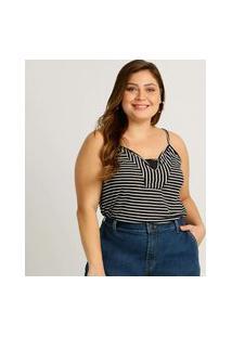 Blusa Plus Size Feminina Listrada Alças Finas
