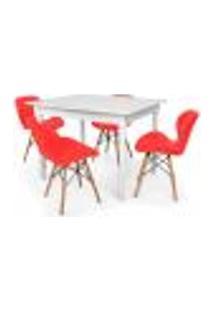 Conjunto Mesa De Jantar Robust 110X90 Branca Com 4 Cadeiras Eames Eiffel Slim - Vermelha