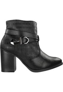 Bota Ramarim Ankle Boot Feminina - Feminino-Preto