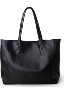 Bolsa Line Store Leather Sacola Shopper N2 Couro Preto - Kanui