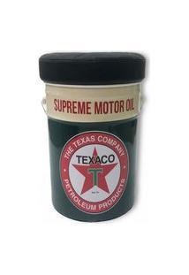 Puff Baú Tambor Redondo 42X30X30 Texaco Supreme Motor Preto