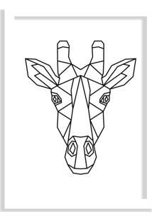 Quadro Decorativo Line Drawing Girafa Branco - Grande