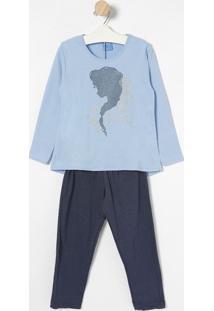Pijama Frozen Com Brilho - Azul Claro & Azul Marinholupo