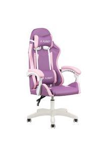 Cadeira Gamer Home Office Lilás Com Rosa