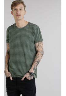Camiseta Masculina Básica Listrada Manga Curta Gola Careca Verde Militar