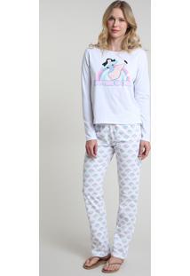 Pijama Feminino Mulan Manga Longa Off White