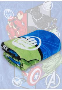 Cobertor Solteiro Lepper Avengers Azul 1,50 X 2,20