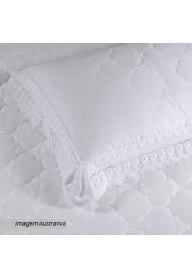 Porta Travesseiro Cristal Renascenã§A Em Percal- Branco
