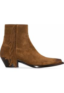 Saint Laurent Ankle Boot Lukas Com Franjas - Marrom
