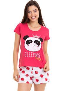 Pijama Feminino Manga Curta Panda Em Algodão Luna Cuore