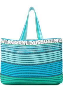 Missoni Mare Bolsa Tote Listrada Com Logo - Azul