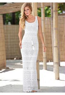 Vestido Longo De Tricô Branco