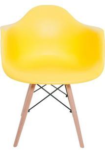 Cadeira Facthus Charles Melbourne Com Base De Madeira Amarela
