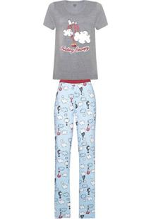 e8a0ed118dcc74 Pijama Feminino Manga Curta E Calça Estampada - Peanuts