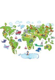 Adesivo De Parede Mapa Mundi- Verde & Azul Claro- 60Evolux