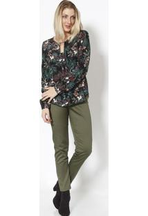 Blusa Floral Com Recorte- Preta & Verdevip Reserva