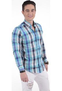 Camisa Xadrez Slim Social Masculina - Unissex-Azul