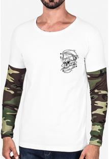 Camiseta Hermoso Compadre Skull Manga Camuflada Ma - Masculino