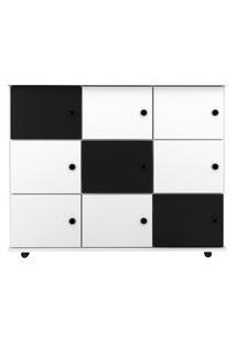 Nicho Multiuso Organizador Com Rodízios Amá 9 Portas Branco/Branco/Preto - Mpozenato