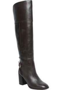 Bota Over The Knee Em Couro - Marrom Escuro - Salto:Capodarte