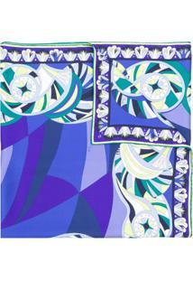 Emilio Pucci Echarpe Estampado Em Seda - Azul