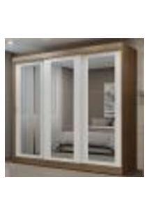 Guarda-Roupa Casal Madesa Kansas 3 Portas De Correr De Espelho 3 Gavetas