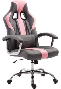 Cadeira Gamer Jaguar Cinza E Rosa