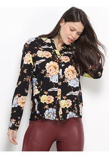 Camisa Facinelli Floral Manga Longa Feminina - Feminino-Preto