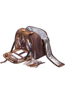 Bolsa Térmica Guepardo Ka0300 17 Litros Com Kit Pic Nic E Talheres Para 4 Pessoas Marrom