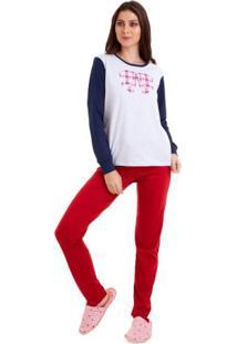 Pijama Longo Estampado Com Laço Feminino Com Algodão