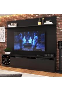 Rack Com Painel Para Tv Até 60 Polegadas 2 Portas 2023 Ptw Preto Wood - Quiditá Móveis