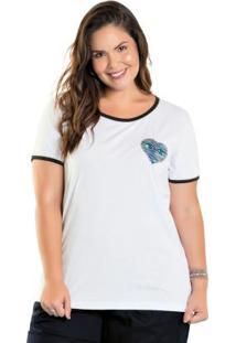 T-Shirt Com Bordado Em Paetê Plus Size Branca