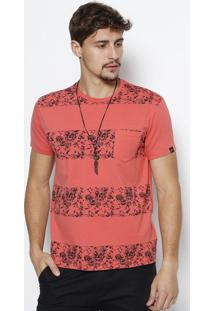 Camiseta Floral Com Bolso- Laranja & Pretajavali