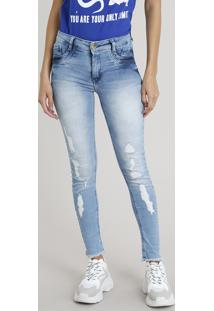 Calça Jeans Feminina Skinny Sawary Destroyed Azul Claro