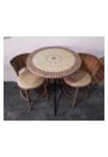 Conjunto De Mesa E Cadeira Varanda Bege
