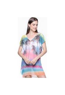 Blusa 101 Resort Wear Saida De Praia Estampada Crepe Decote V Tie Dye Coqueiros