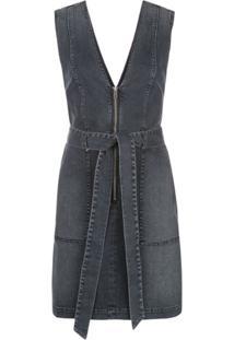 Alice+Olivia Vestido Jeans Gorgeous Com Zíper - Preto