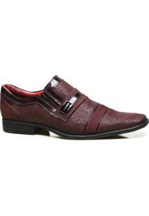 Sapato Social Couro Iod'S Com Textura Masculino - Masculino-Bordô