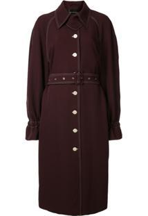 Stine Goya Trench Coat Com Pesponto Aparente - Vermelho