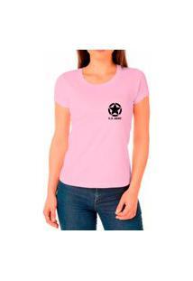 Camiseta Feminina Algodão Básica Estrela Macia Confortável Rosa