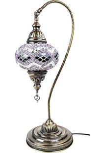 Luminária Turca Em Mosaico Roxo