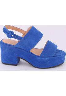 Sandália Meia Pata Em Couro - Azul - Salto: 6,5Cmluiza Barcelos